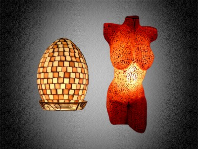 mosaiklampen, mosaikleuchten, woman body lamp, mens body lamp, mosaiklampendesign,